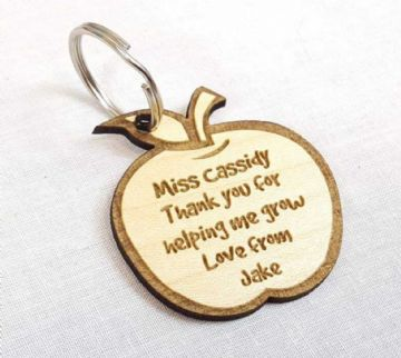 Personalised Engraved Wooden Apple Keyring - Gift For a Teacher - Choice of Colour